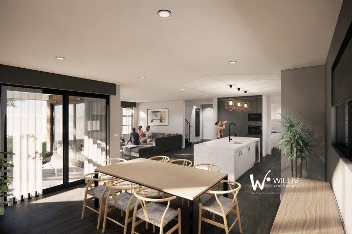 North Melbourne - Dining Kitchen Living
